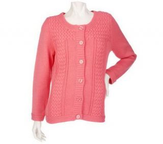 Denim & Co. Long Sleeve Button Front Sweater with Cable Detail