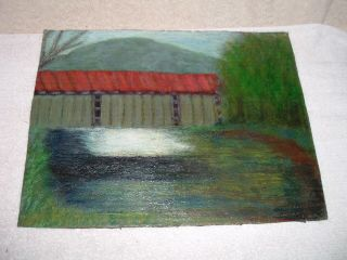 Vintage Painting Covered Bridge Lancaster York PA Oil
