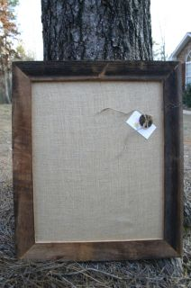 Beautiful Antique Frame Cork Board Covered in Burlap 22x26