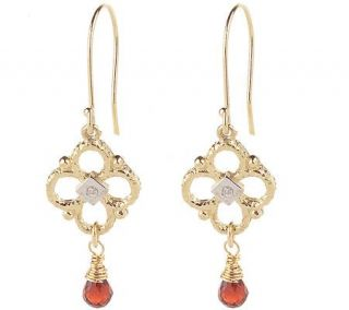Mauri Pioppo Garnet and Diamond Accent Drop Earrings 14K Gold
