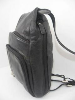 Vintage Franklin Covey Black Leather Backpack Sling Bag Purse Tote