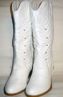New Women Moda White Distressed Western Cowboy Boot