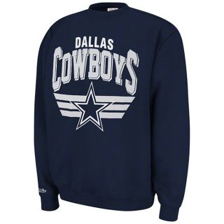 Dallas Cowboys Navy Mitchell Ness Stadium Crew Sweatshirt