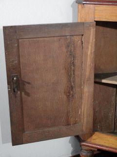 Antique English Solid Oak Victorian Corner Cabinet Bookcase c1870 p26