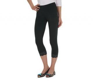 LOGO by Lori Goldstein Capri Legging with Lace Trim   A200760