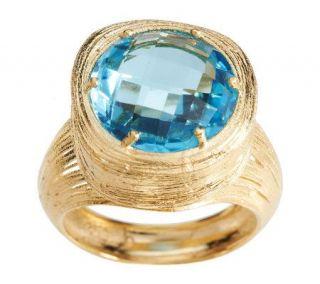 Spun Gold Round Blue Topaz Ring 14K Gold —