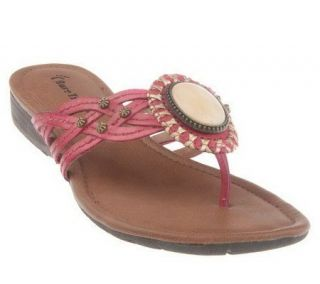 Bare Traps Leather Braided Thong Sandals with Ornament Detail