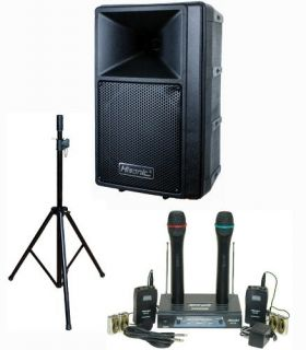 120W PA Speaker System VHF Wireless Microphone System Stand