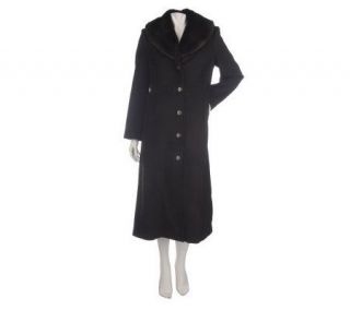 Dennis Basso Full Length Wool Coat with Removable Faux Fur Collar