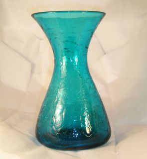 Vintage Blenko Crackle Glass Vase D1