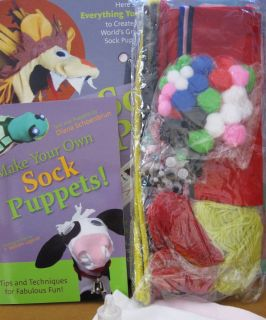 CRAFT SOCK PUPPETS BOOK KIT YARN POM POM GLUE FELT EYES BUTTONS PIPE