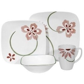CORELLE SQUARE 16 DINNERWARE Pretty Pink