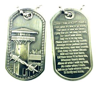 CORRECTION OFFICERS PRAYER BRUSHED STEEL DOG TAG