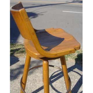 Conant Ball Mid Century Modern Brass and Oak Swivel Barstool