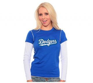 MLB Los Angeles Dodgers Womens Double Layer T shirt —