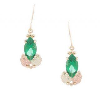 Black Hills Marquise Helenite Dangle Earrings 10K/12K Gold —