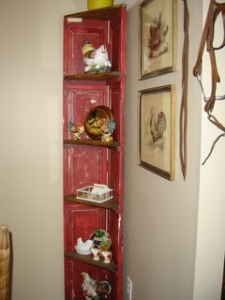 Primitive Style Red Shutter Corner Shelf Unit Very Fun