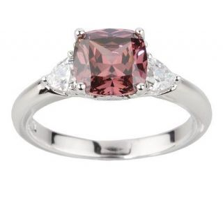 Epiphany Platinum Clad Diamonique Purple Cushion Cut Ring —