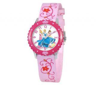 Disney Muti Princess Pink Bezel Time Teacher Watch   J308270
