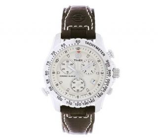 Timex Mens Silvertone Chrono Alarm Watch —