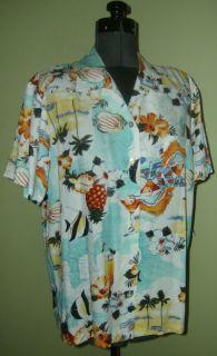 Crazy Horse Tropical Vacation Print Liz Claiborne Camp Shirt Skirt Set
