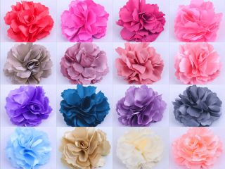 Ladies Girls Peony Silk Wedding Brooch Corsage Hair Head Clips