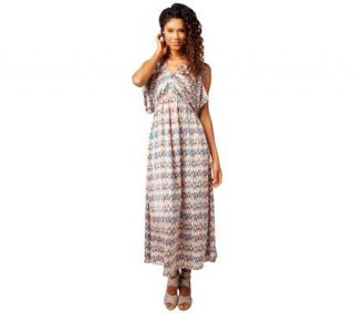 GF by Geren Ford Watercolor Ikat Print Maxi Dress   A222570