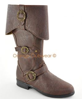 Mens Brown Carribean Pirate Halloween Costume Knee Boots Shoes