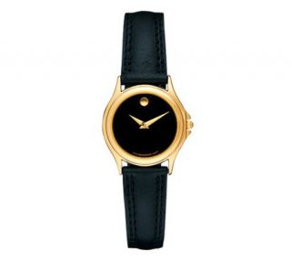 Movado Ladies Museum Folio Black Dial and Black Strap Watch