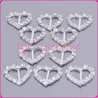 10x 20mm Heart Crystal Rhinestone Ribbon Buckles Sliders Hairbow Belt