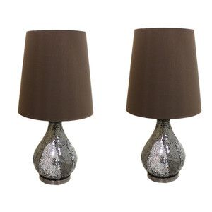Casa Cortes Mosaic Glass Mirror 26 Table Lamps Set of 2 Silver Brown