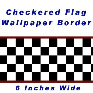 New Checkered Flag Cars NASCAR Wallpaper Border 6 inch Red Edge