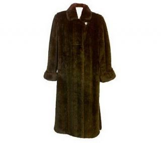 Dennis Basso Full Length Faux Fur Coat w/Hook & Loop Closures