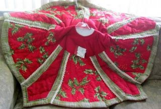 Quilted Red w Berries Green Plaid Crochet Lace Christmas Tree Skirt 54