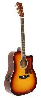 crestwood acoustic electric cutaway guitar sunburst