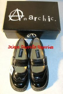 Anarchic Black Patent Wingtip Mary Jane Shoes 6 New
