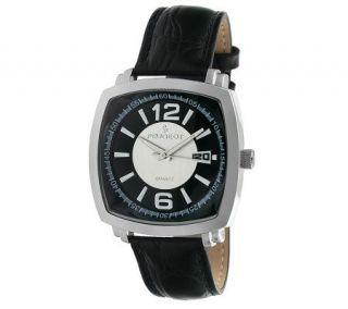 Peugeot Mens Square Silvertone Black Leather Strap Watch   J304083