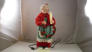 Crestone Products Animated Mrs Santa Claus Figure with Lighted Candle