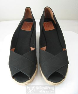 Tory Burch Filipa Criss Cross Espadrille Platform Wedge Size 11 Black