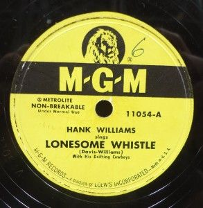 WILLIAMS lonesome whistle Original MGM Post War Country Hillbilly