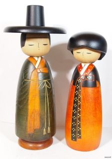 STUNNING CREATIVE KOKESHI DOLL PAIR FORMAL COSTUME POSSIBLY KOREA