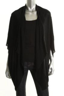Cris New Black Silk Drapey Open Front Cardigan Top Sweater One Size