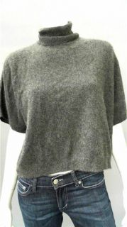 Cris Misses M Cashmere Turtleneck Pullover Sweater Charcoal Gray Solid