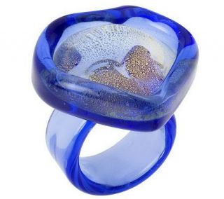Murano Glass Free Form Heart Shaped Ring w/18K Gold Foil —