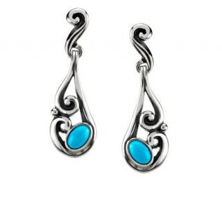 Carolyn Pollack Sleeping Beauty Turquoise Sterling Earrings —