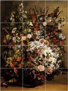 XL Gustave Courbet Flowers Painting Ceramic Backsplash Wall Tile