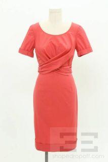 Max Mara Coral Cotton Tie Waist Short Sleeve Dress Size 6