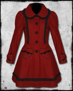 Hell Bunny Courtney Burgundy Wine Red Black Steampunk Goth Lace Trim