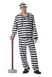 Convict Jailbird Prisoner Adult Halloween Costume 00801