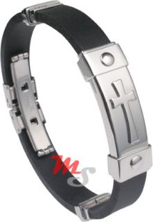 Adjustable Stainless Steel Rubber Cross Bracelet USA